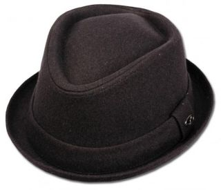 Men's Wool Felt Diamond Shape Stingy Short Brim Pork Pie Ganster Fedora Hats