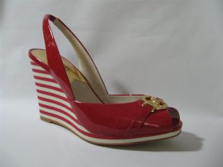 Michael Kors Rochelle Sling Red Womens Stripe Wedge Sandal Shoes Multi Sizes