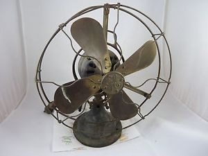 "General Electric SMY 12"" Brass Blade Brass Cage Oscillating Fan"