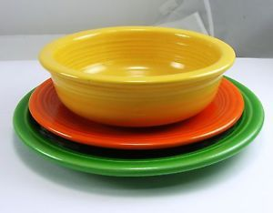 Fiesta Ware Salad Plate Bread Butter Plate Coupe Soup Bowl Yellow Red Green