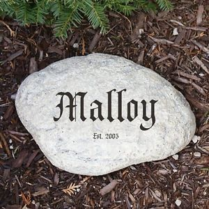 Personalized Family Name Garden Stone Add Any Family Name Engraved Yard Stone
