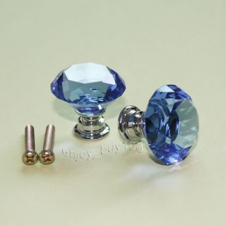 2 Solid Blue Crystal Glass Drawer Pull Cabinet Knob Kitchen Handle 30mm