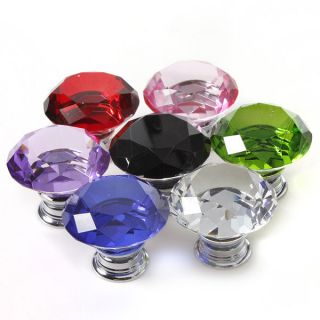 40mm Diamond Shape Crystal Glass Cabinet Knob Cupboard Drawer Pull Handle T New