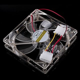 120mm x 25mm 4 Color LED Light 4pin Cooling Fan for PC Computer Case Transparent