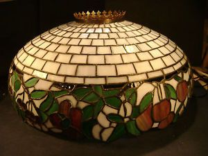 "Magnificent 23"" Antique Domical Leaded Slag Glass Lamp Shade Early 20th C"