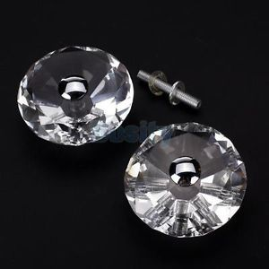 1 Pair Diamond Shape Crystal Vintage Glass Door Cabinet Knob Pull Home Decor