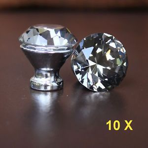 10 Pcs Grey Crystal Glass Drawer Knobs Cabinet Handle Pulls