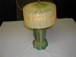 Art Deco Table Lamp Green Satin Glass w Matching Glass Shade Cloth Cord Finial