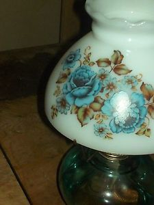 Beautiful Vintage Oil Lamp Blue Glass Base Painted Milk Glass Shade