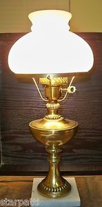 Vintage Electric Hurricane Table Lamp Glass Shade Metal with Marble Base