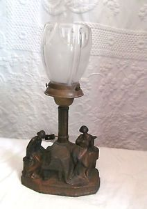 Antique Art Deco Figural Table Lamp Frosted Glass Shade Piano Light