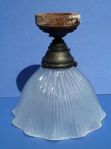 Antique Holophane Ruffled Glass Light Pendant Shade w Fittings 1909 20222