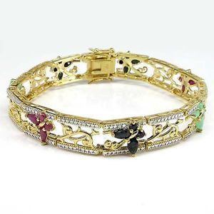 Luxury Natural Emerald Ruby Sapphire 1P Diamond Gold Plated 925 Silver Bracelet