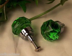 6 Emerald Green Crystal Glass Knobs Cabinet Door Drawer Pulls Furniture Handles
