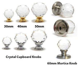 Pushka Knobs Clear Crystal Ball Glass Mortice Cupboard Drawer Cabinet Handles