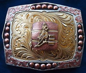 Barrel Racing Trophy Heavy Western Belt Buckle German Silver 24K Gold Plated