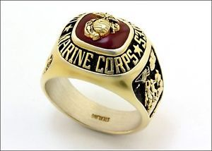 United States Marine Corps Gold Plated Sterling Silver Ring Size 13 US Marines