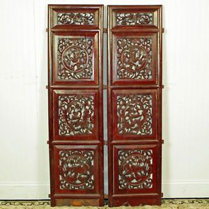 "Pair Antique Asian Chinese Carved Wood Window Screen Wall Hanging Art 14"" x 53"""