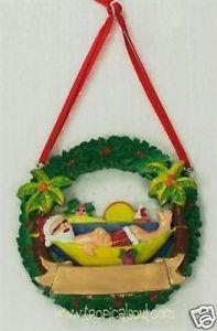 "Santa Tropical Xmas Ornament Beach Hammock Palm Tree Christmas Wreath 3"" New"
