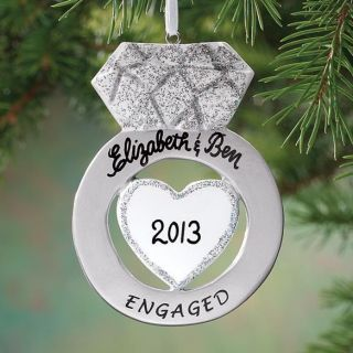 Personalized Engagement Ring Shaped Ornament Wedding Christmas Tree Decor New