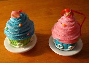 Set of 2 Cupcake Candy Christmas Tree Ornaments Cake Bakery Kitchen Baker Decor