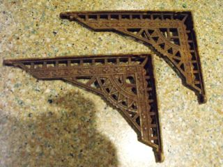 Vintage Antique Cast Iron Shelf Brackets Pair Corbels Art Deco Architectural