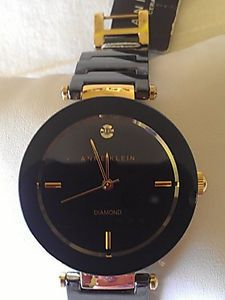 $110 Anne Klein Watch Black Ceramic Style AK 1018BKBK New Over Stock with Tags