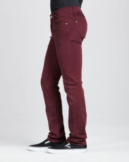 J Brand Men's Red Wine Kane Twill Pants Artisan Port Straight Leg Jeans 33 x 34