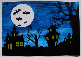 "Original Watercolor Painting Art Bat Night Moon ""Halloween"" Picture Signed"