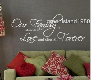 Our Family Cherish Sticker Wall Quote Removable Art Vinyl Decor Home Kids AU