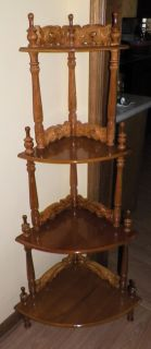 New 4 Tier Decorative Wooden Oriental Corner Table Shelf Display Stand Oak 53 5""