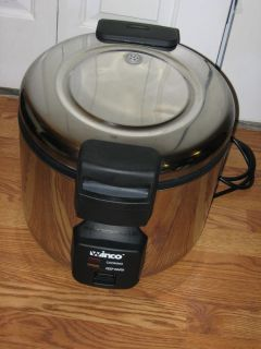 Winco Commercial Electric Rice Cooker w Warmer Ercw 66 33CUP Un Cooked Rice