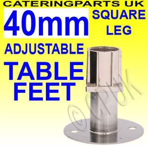 40mm Square Table Leg Adjustable Feet Foot Insert for Stainless Steel Table