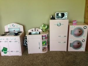 Pottery Barn Pink Retro Kids Kitchen Playset Furniture 4 Pieces Plus Accessories
