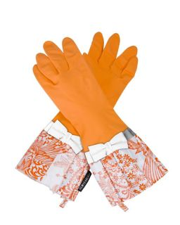 Gloveables Grandway Rubber Cleaning Gloves Orange Retro Gardening Kitchen Dish