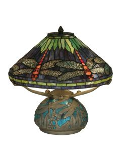 Dale Tiffany Table Lamp Dragonfly Shade Base Emerald Amethyst Art Glass