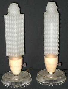 Art Deco Pair Boudoir Mantel Table Lamps Pressed Glass Base Shade Bakelite