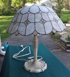 Antique Table Lamp with Leaded Glass Shade Bellflower Base