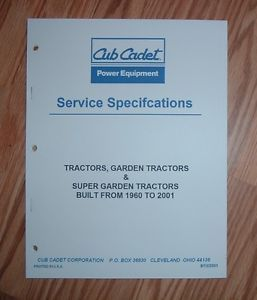 Cub Cadet Lawn and Garden Tractor Service Specs Manual