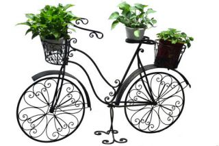 "Enchanted Garden 52"" Antique Metal Bicycle Garden Landscape Flower Planter Stand"