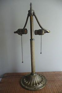 Antique Early 20thC Bradley Hubbard Bronze Lamp Base for Slag Glass Shade