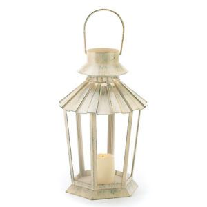 Hang Garden Victorian Ivory Candle Lantern Holder Lamp Indoor Outdoor Lighting