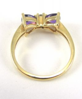 14k Yellow Gold Ring Amethyst Diamond Bowtie Design Prong Set Size 6 1 4