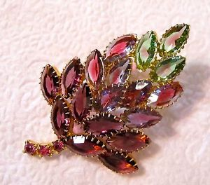 Vtg Openback Rhinestone Prong Set Glass Pin Brooch Purple Bi Color Pink Green