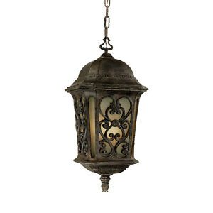 Manorgate Collection Hanging Lantern 4 Light Outdoor Black Coral Light Fixture