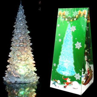 Colorful Icy Crystal Changing LED Xmas Tree Lamp Night Light 20cm 200mm