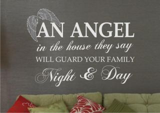 Wall Art Sticker Quote Angel Living Dining Bedroom Home