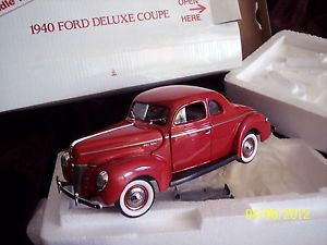 1940 Ford Deluxe Coupe Danbury Mint Scale 1 24 Die Cast Car Red w Certificate