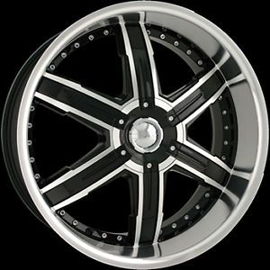 24 x9 5 DIP D92 Heat Black Machined Wheels Rim Free Lug