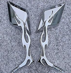 Harley Davidson Sportster Softail Chrome Flame Mirrors